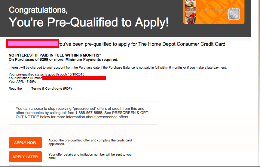 Can 39 t believe citi home depot has a pre qual offer for 0 home depot credit card