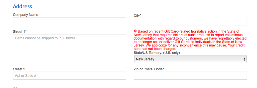 Can't use Amex Platinum travel credit because I can't by AA gift cards in NJ?!