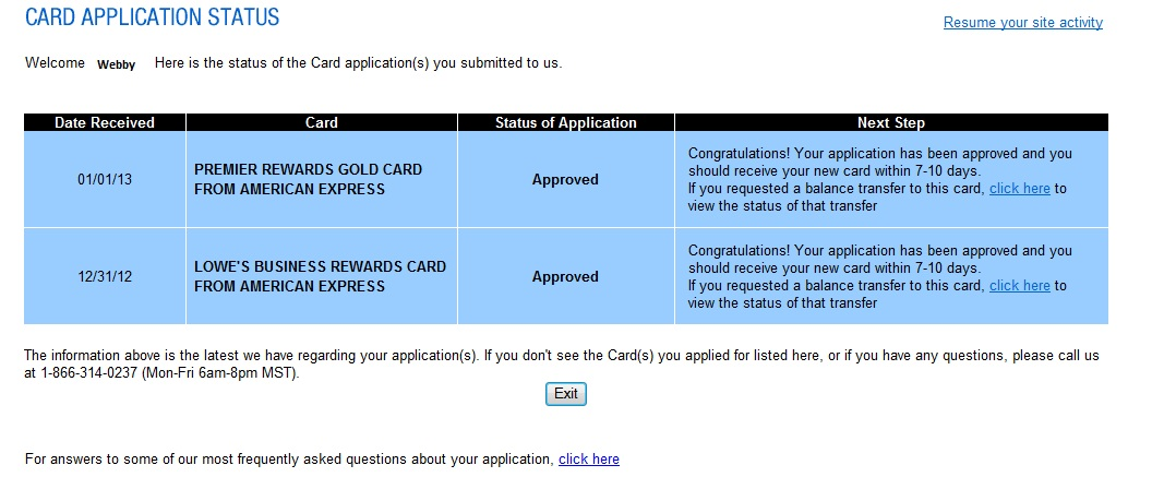 Just GOT Approved for American Express Lowe s Busi