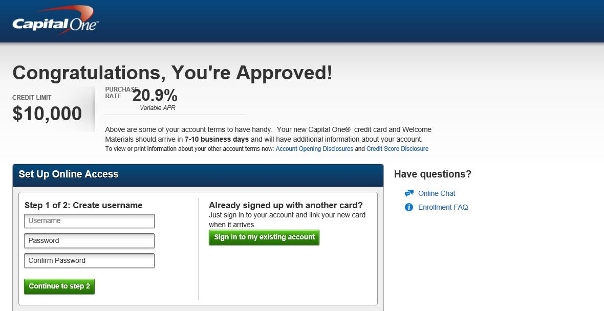 Capital One Again Venture Instant Approval myFICO Forums