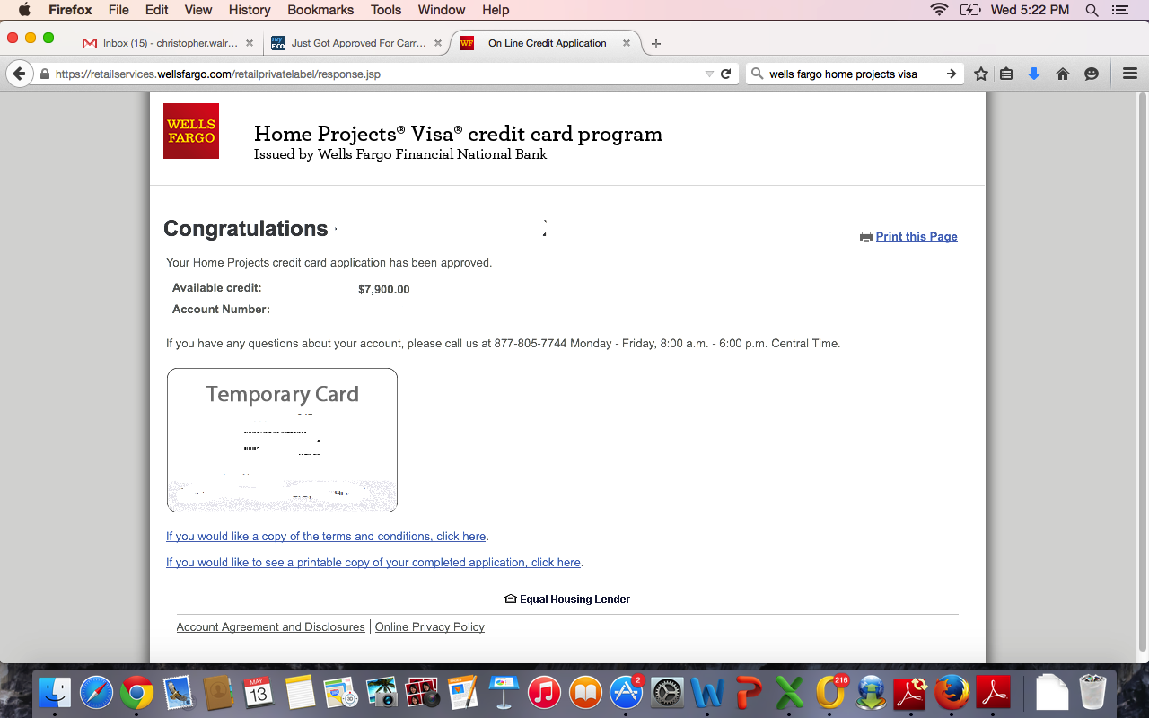 Wells Fargo Home Projects Visa Approved! - myFICO® Forums - 4005225