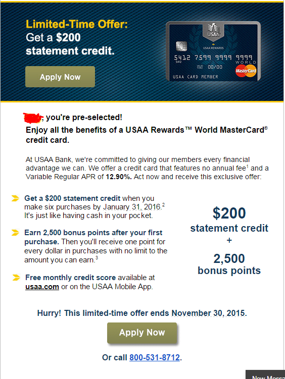 USAA Pre-approval $200 statement credit... Is it w ...