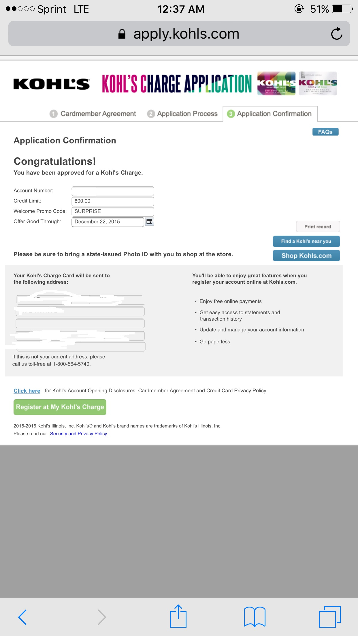 Kohl's Charge Account- Approved haha :) - myFICO® Forums ...