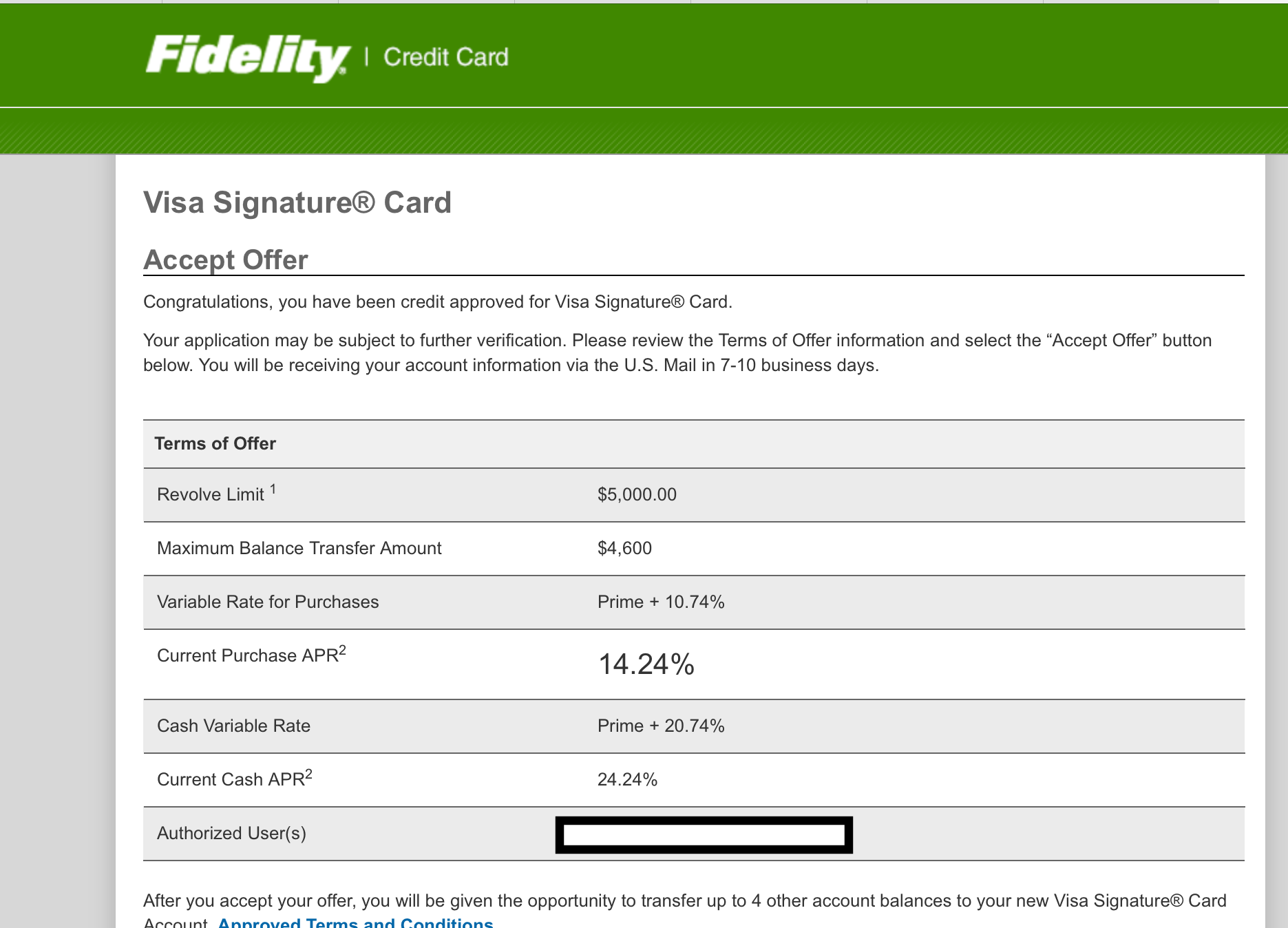 Fidelity Visa Signature - Instant Approval! - myFICO® Forums - 4621780