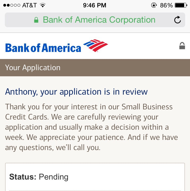 Bofa pending message myfico forums 4633538 i applied for bofa bbr and bofa alaskan airlines business and received this message for both with a reference number anyone know if thats good bad reheart Images