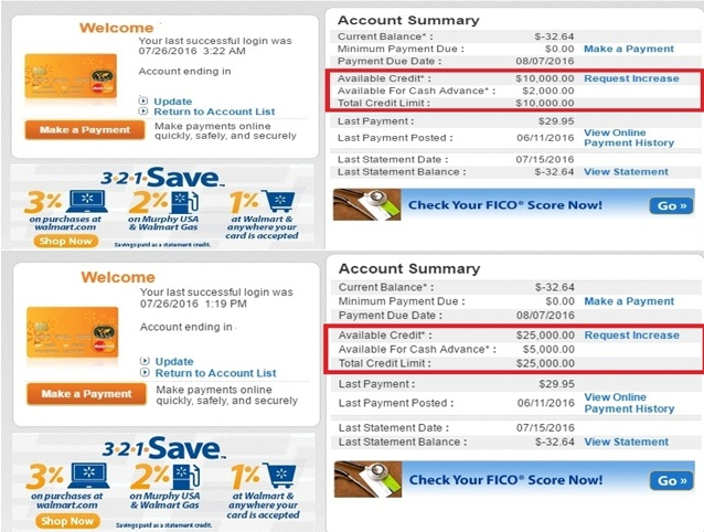 Walmart Mastercard Cli To 25 000 And First 800 Sc Myfico 174 Forums 4694331