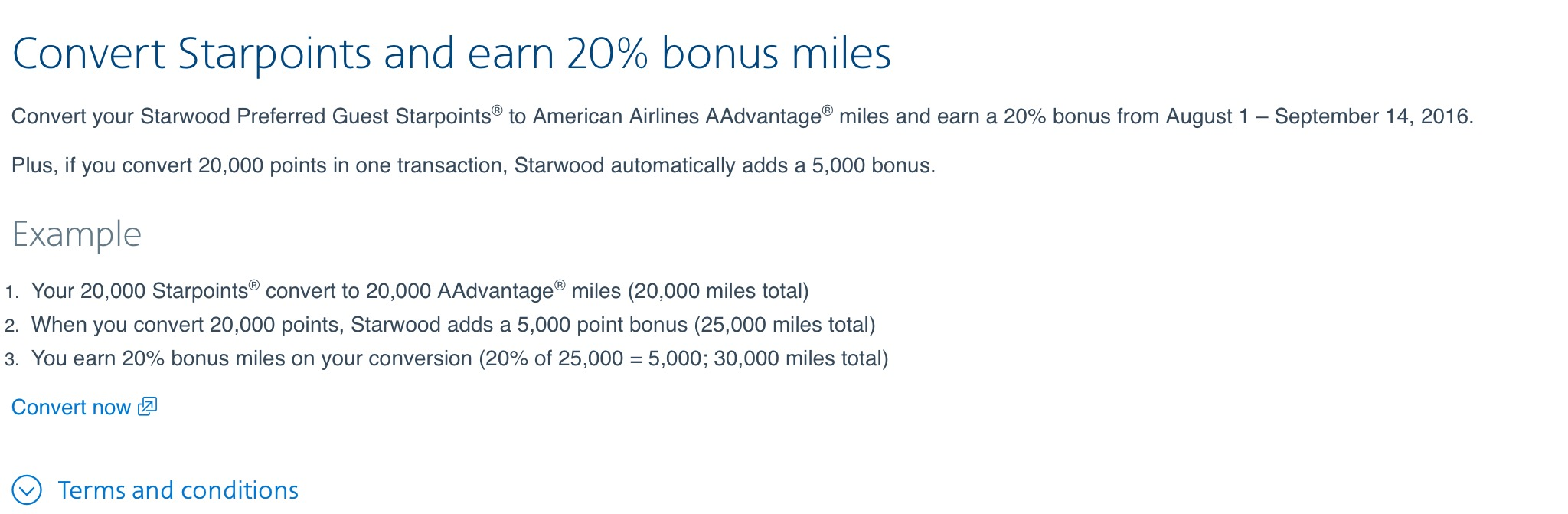 Earn additional 20% when converting SPG to AA mile... - myFICO ...