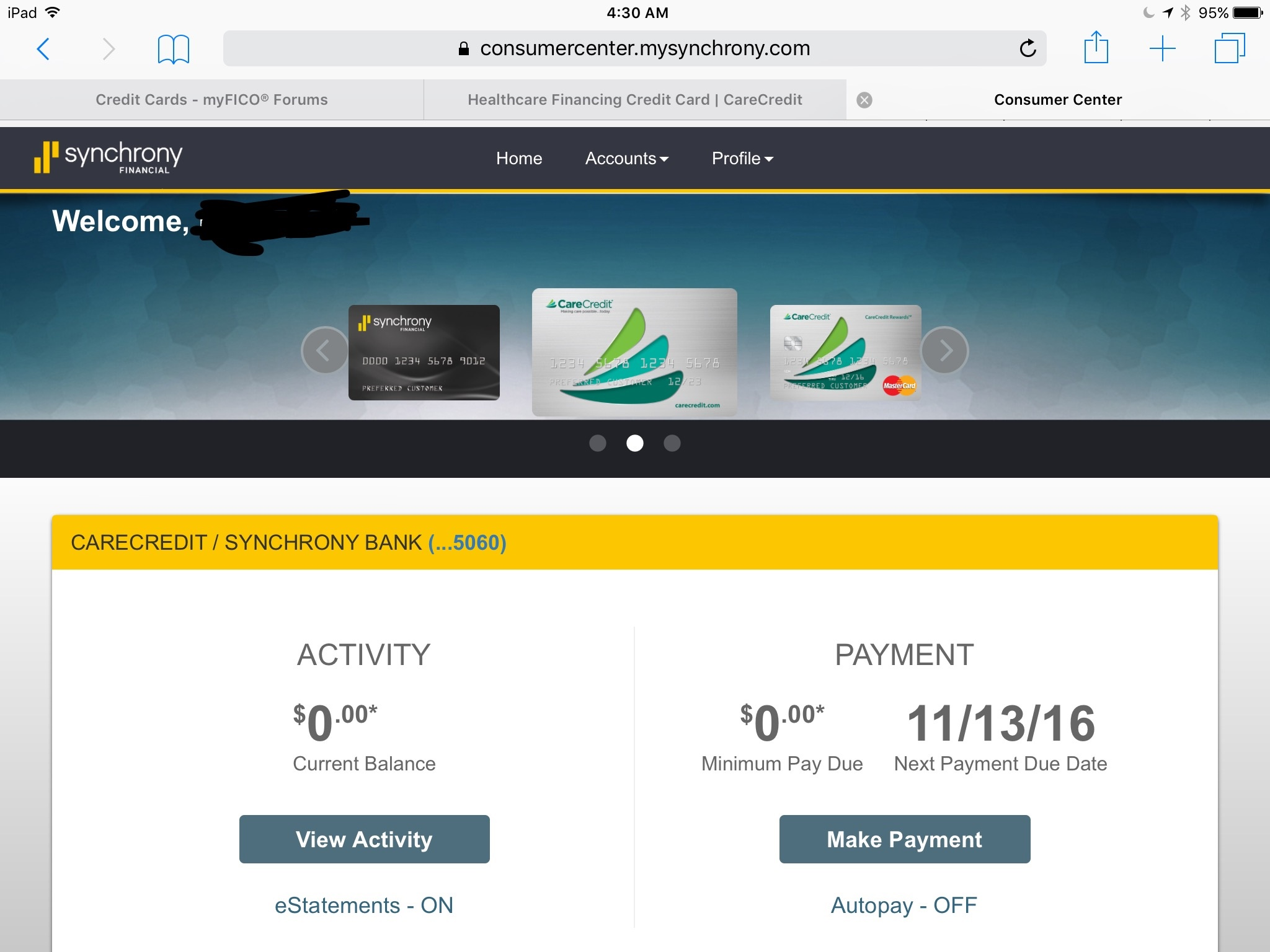 Mastercard options online account
