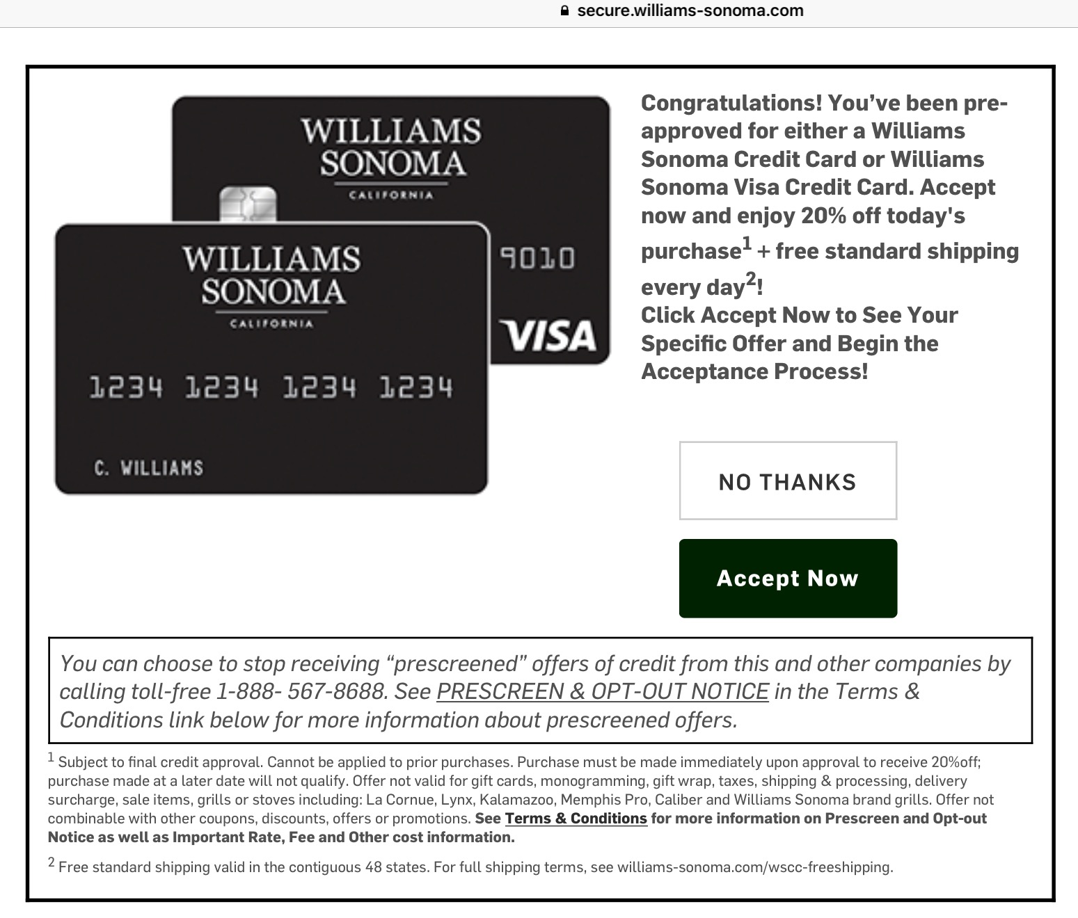 Williams-Sonoma Visa Card From Comenity Bank Review – 5% Back In June we let you know that Barclaycard & Williams Sonoma would be discontinuing their relationship, Comenity Bank has purchased the card portfolio and will be issuing the new card.