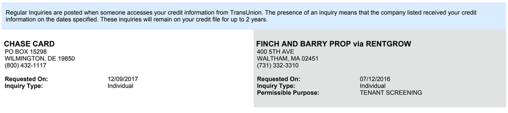 Hard inquiries listed in TransUnion credit report