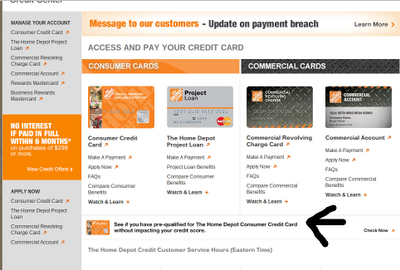Home Depot Prescreen link? - myFICO® Forums - 3550631