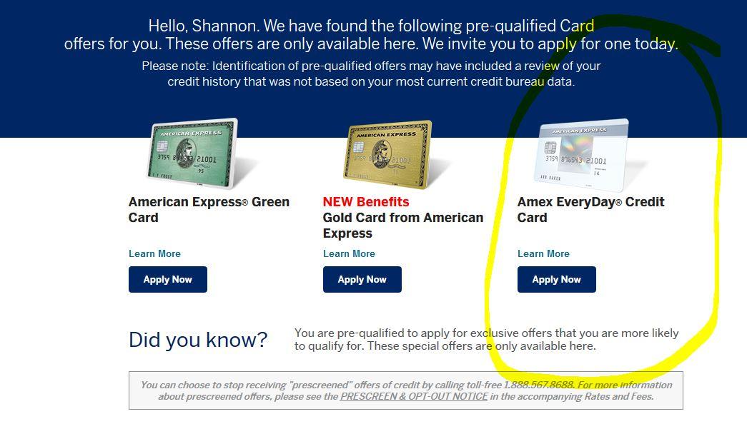 AMEX Everyday Card - Prequalified on website sh - myFICO