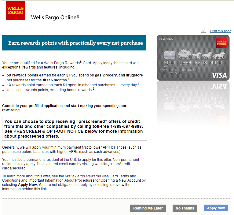 Got a Pre-qualified Wells Fargo offer - Is it legi - myFICO