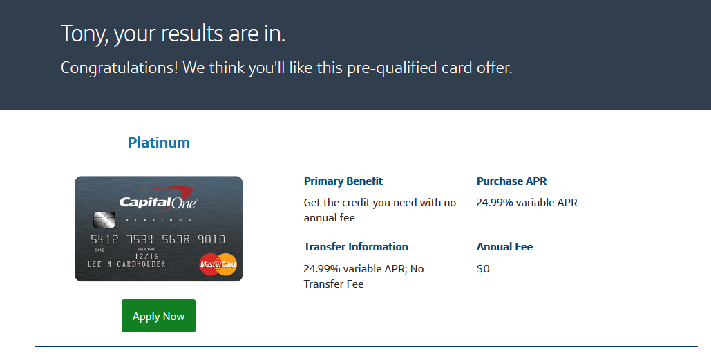 Capital One Platinum - Pre-Approval? - myFICO® Forums - 8