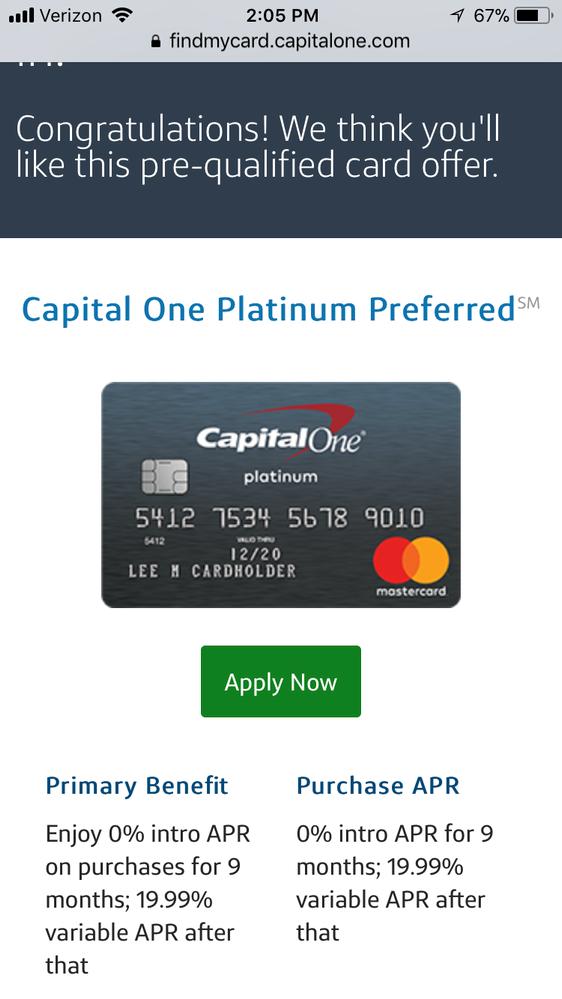 Capital One Platinum Preferred Mastercard - myFICO® Forums - 10