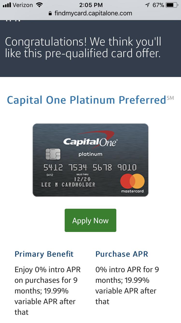 Capital One Platinum Preferred Mastercard Myfico Forums 5097122