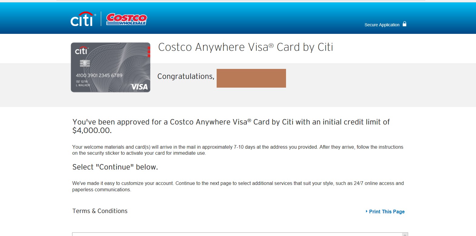 Costco Citi VISA Instant Approved after reopening - myFICO