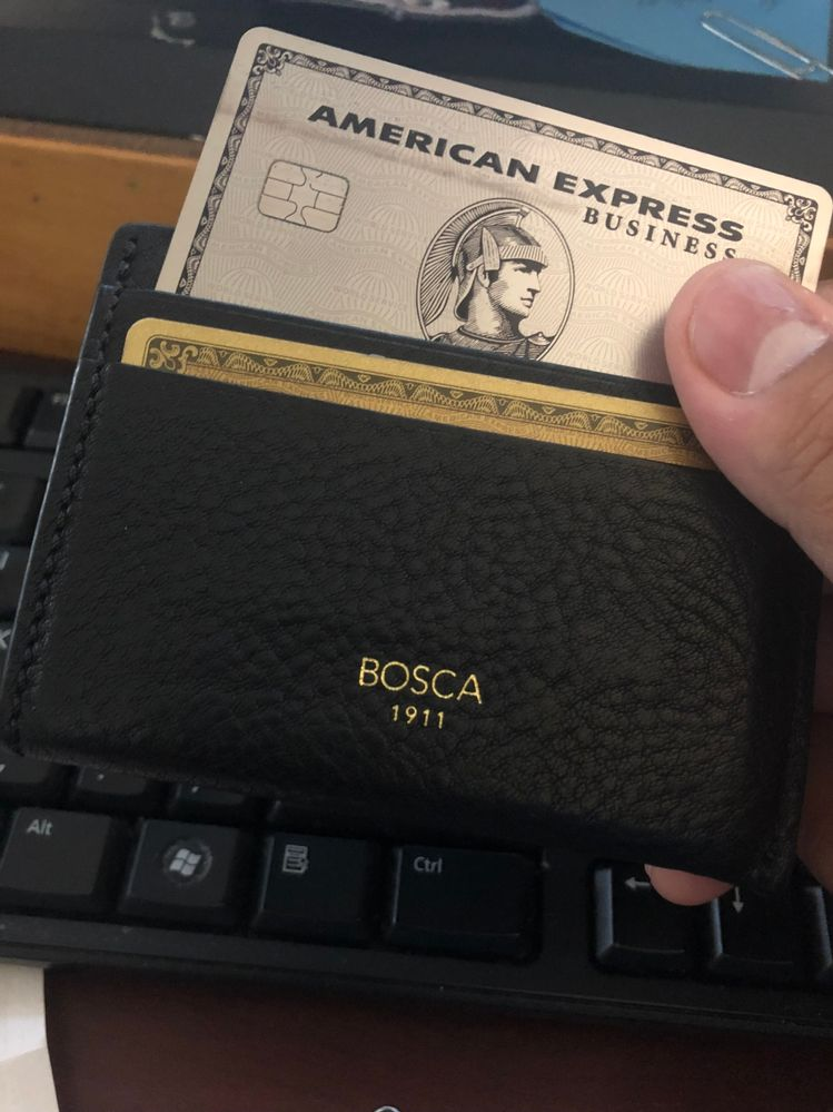 Amex Business Platinum: black leather stained.