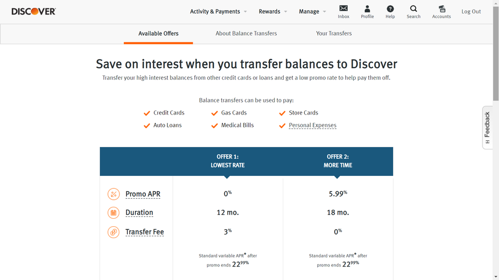 Discover Balance Transfer Offer - myFICO® Forums - 10