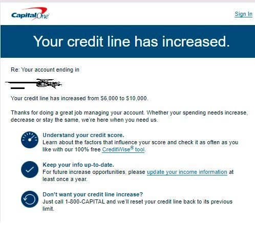 Capital One Quick Silver Auto CLI $8,8 to $8,8 - myFICO