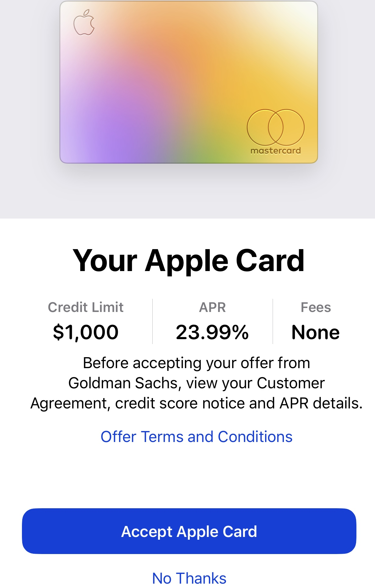 Apple Card APR changed from 13.13% to 13.13% in al - myFICO