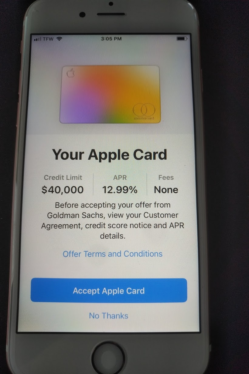 Apple Card approved at $12K @12.12%..had to buy - myFICO