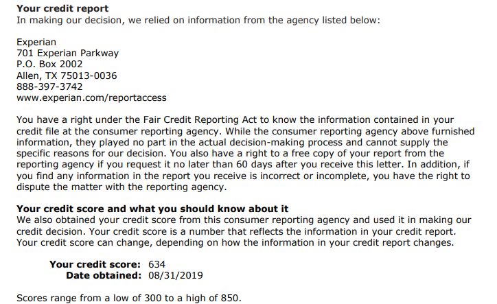 Per the denial letter from USAA