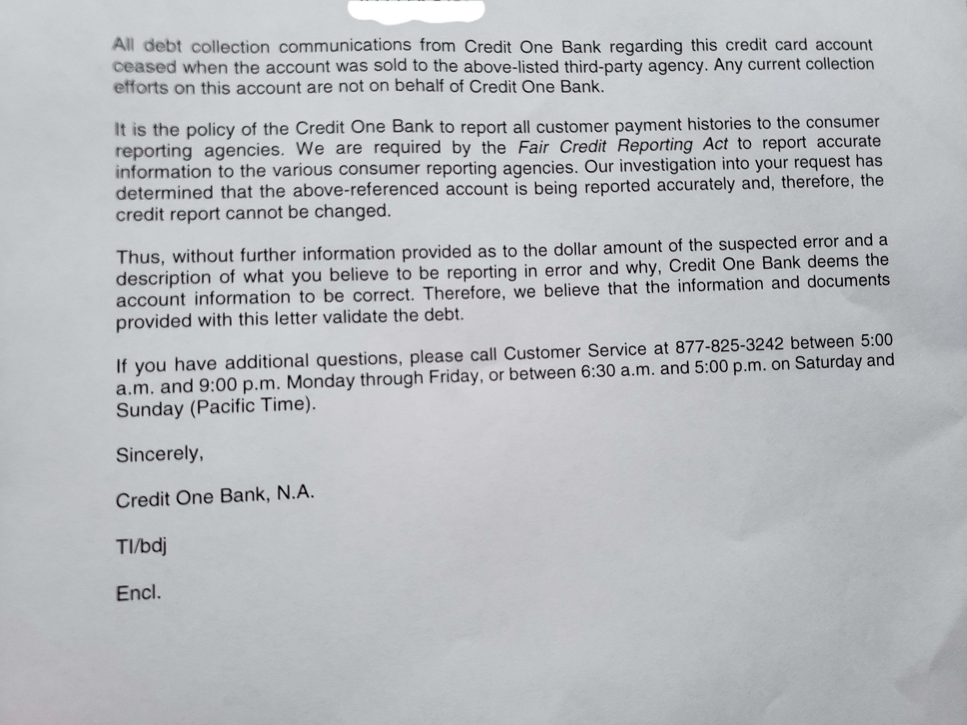 Credit One Bank & LVNV FUNDING LLC Letter Included - myFICO