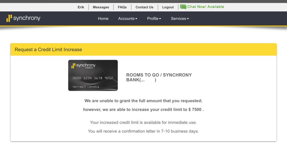 Synchrony Rooms To Go CLI! - myFICO® Forums - 8