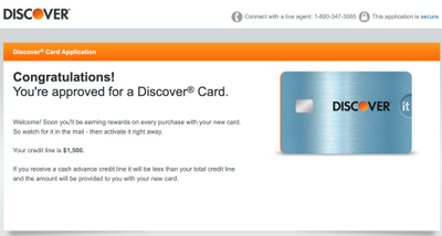 Discover IT Cash Back Approval! - myFICO® Forums - 13