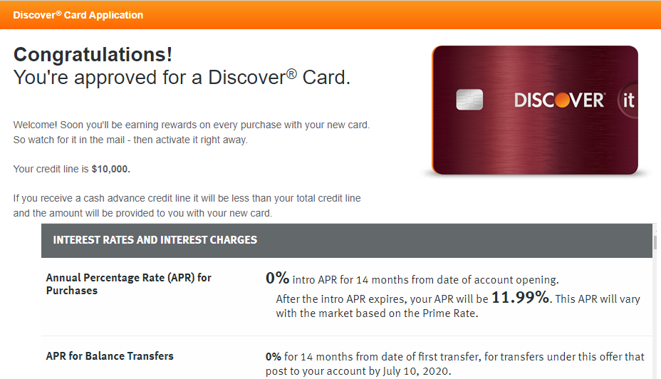 DIscover IT Approve $8,8 APR 8.8% - myFICO® Forums - 8