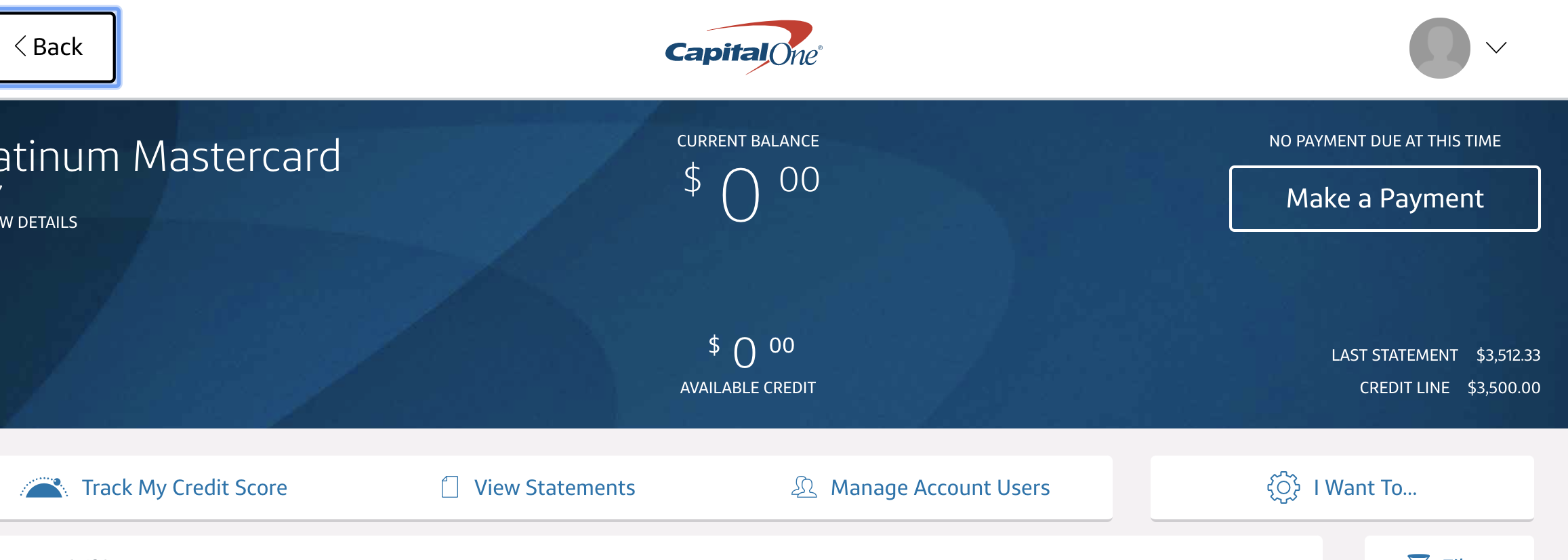 capitalone after payment available credit show zer - myFICO