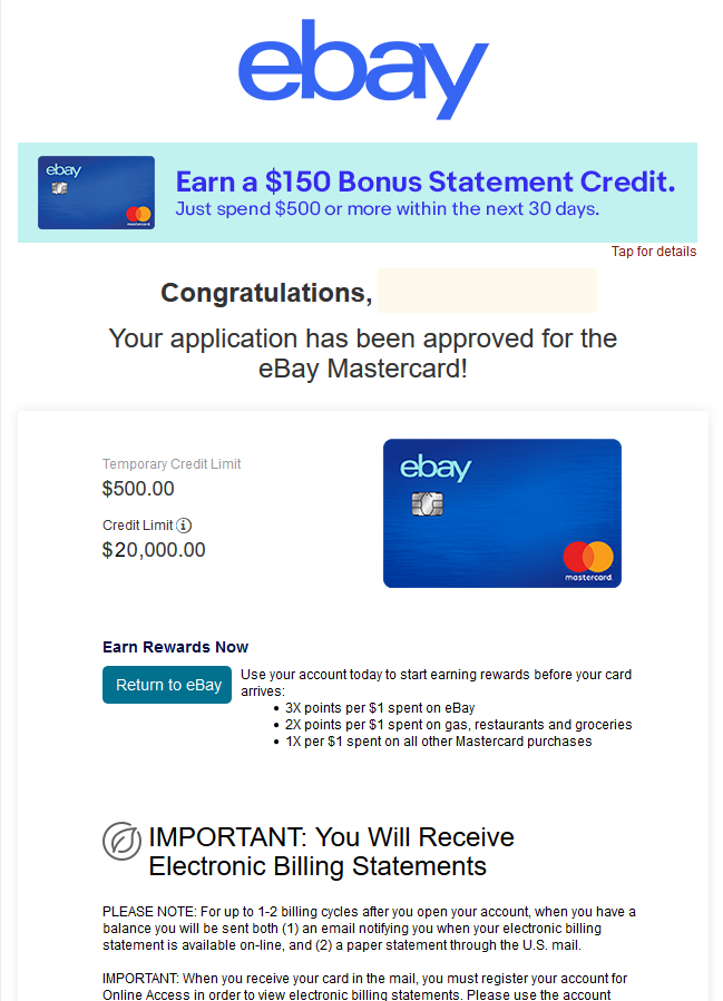 Ebay Mastercard Approved 20 000 Limit Myfico Forums 6114906