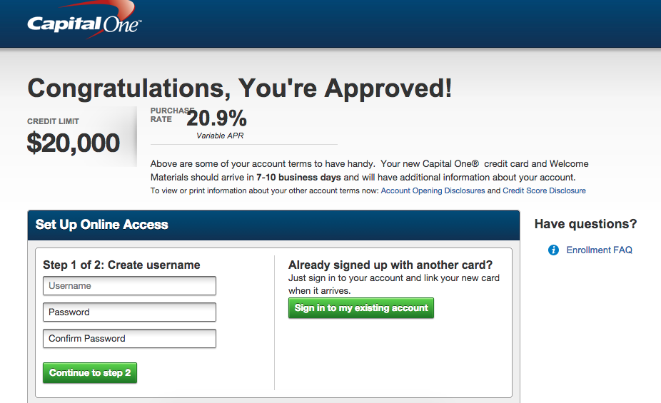 Sign in to my capital one credit card account