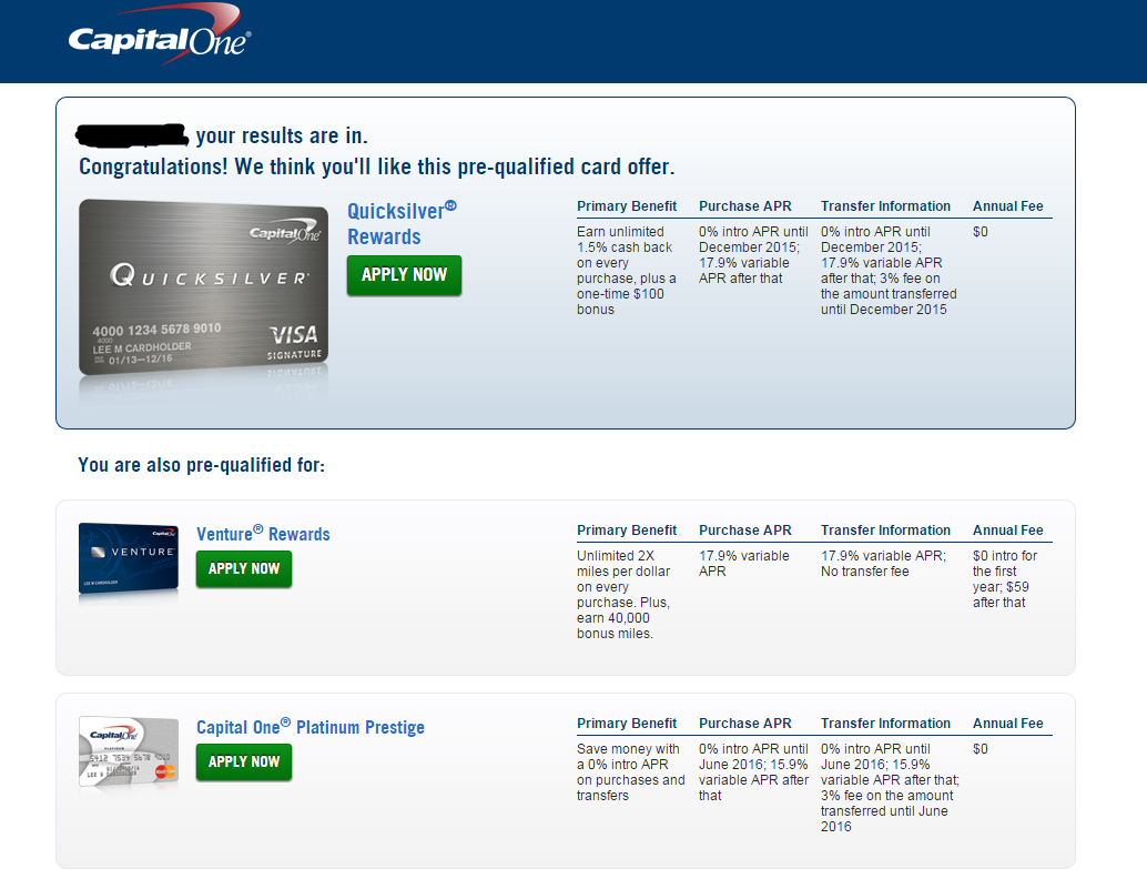 Capital one credit card application pre approval