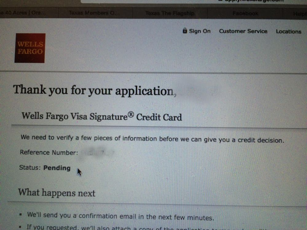 Wells Fargo Visa Signature Need To Verify Inform Myfico