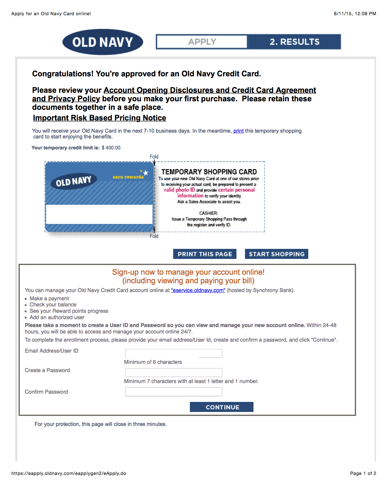 Just Got Approved Old Navy Card myFICO Forums