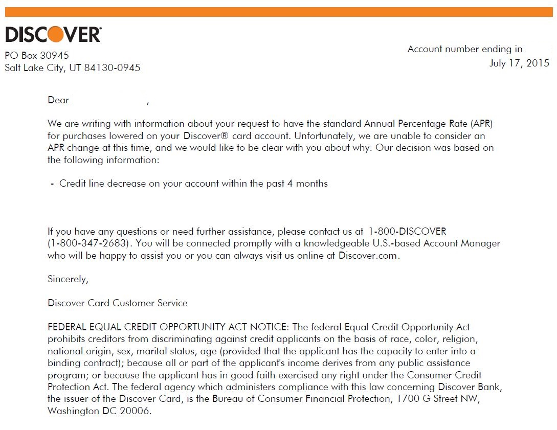 Discover APR Reduction Denial Letter - myFICO® Forums - 4149456
