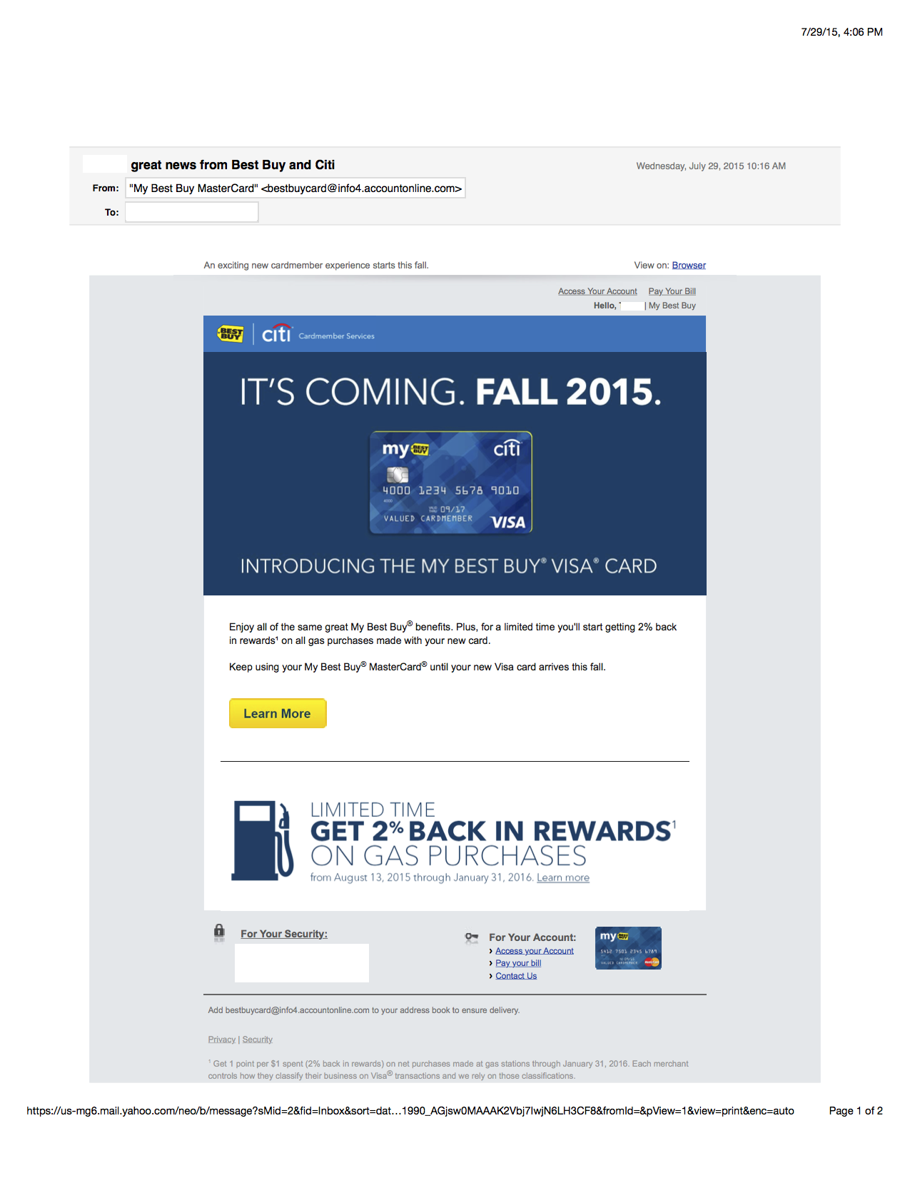 New Best Buy Credit Card System