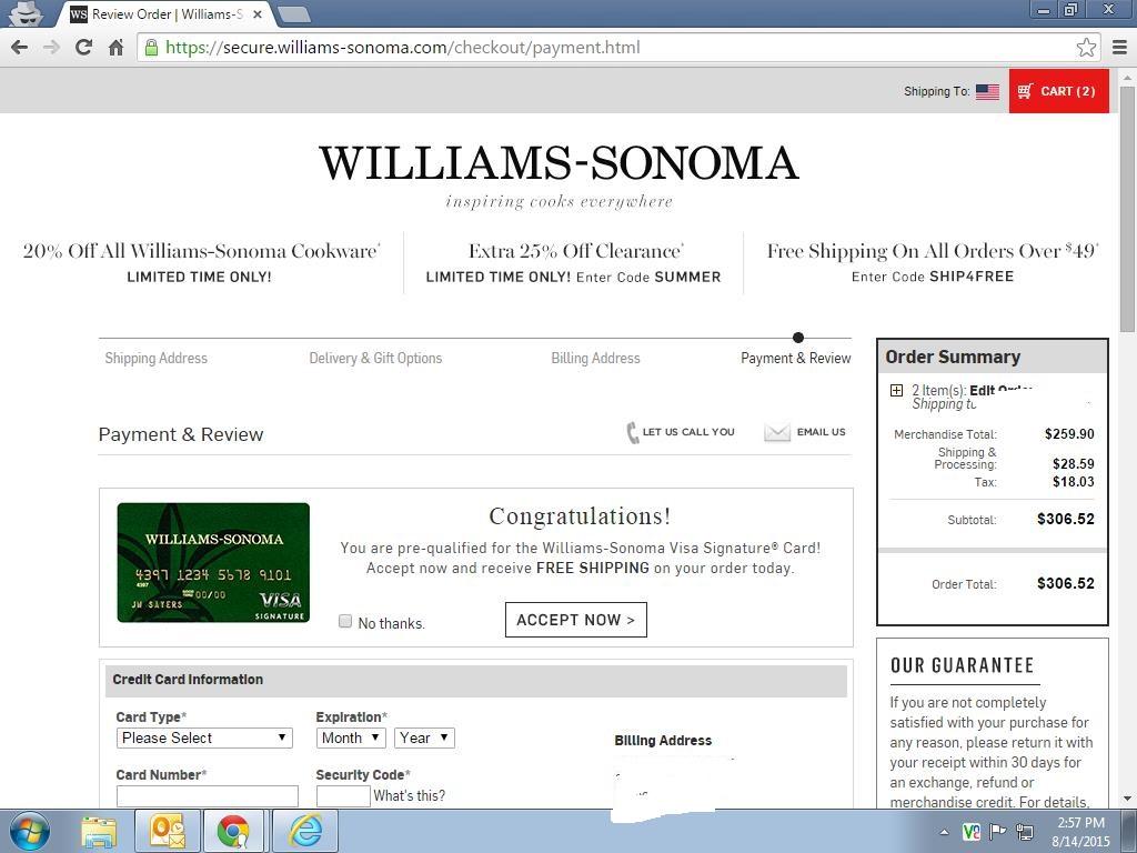 ddc79362b William Sonoma Shopping Cart Trick - myFICO® Forums - 4183025