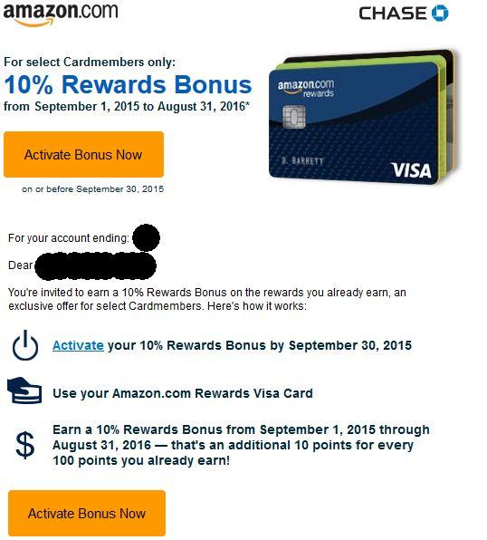 Chase Amazon 10% Rewards Bonus Email