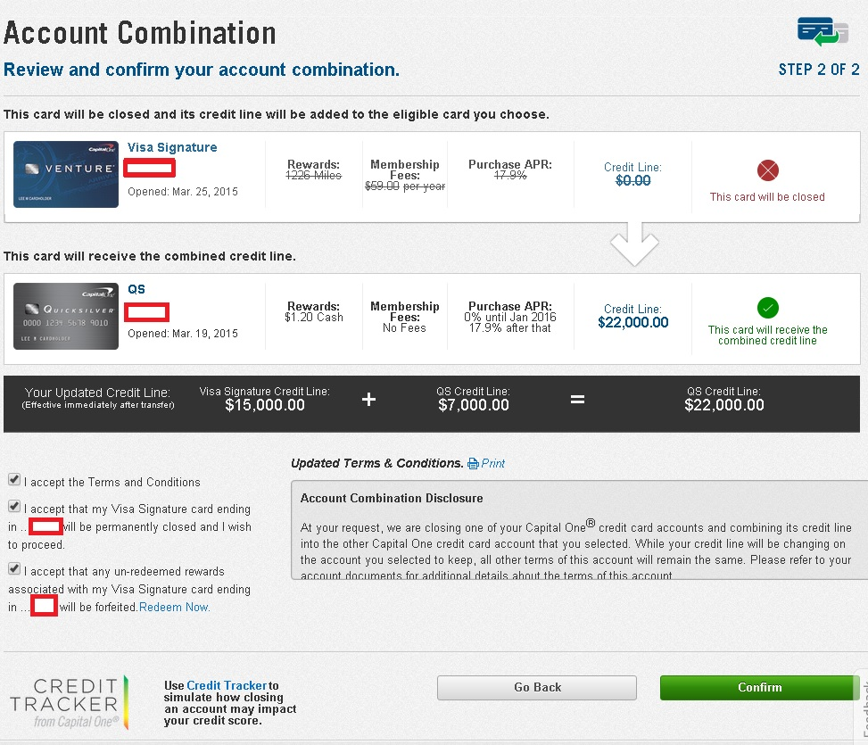 Screenshot Of Capital One Account Combination