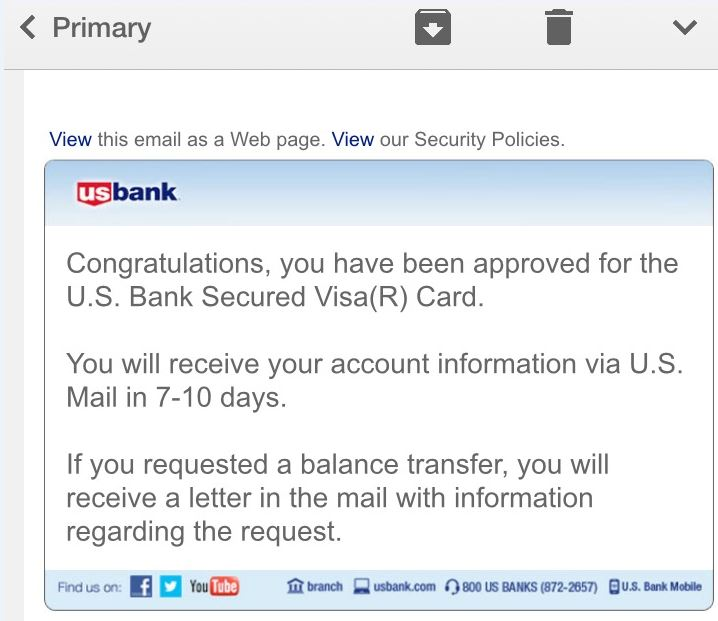 US BANK SECURED CARD APPROVAL - myFICO® Forums - 4297190