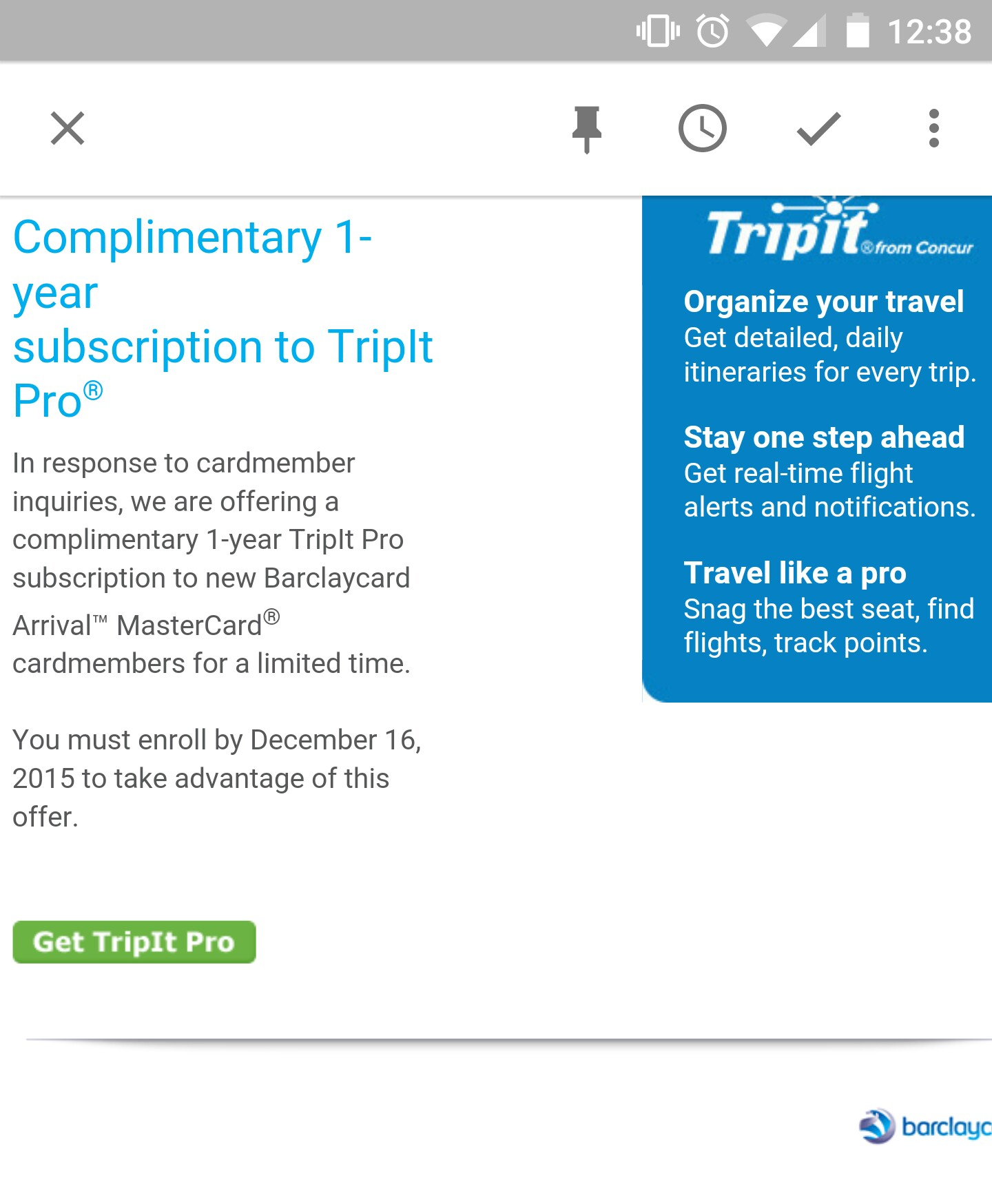 Barclay's Brings TripIt Pro Back To Arrival - myFICO® Forums