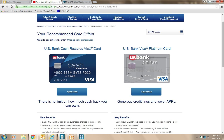 U S  BANK Pre Qualify link    GOOD AS GOLD? - myFICO® Forums