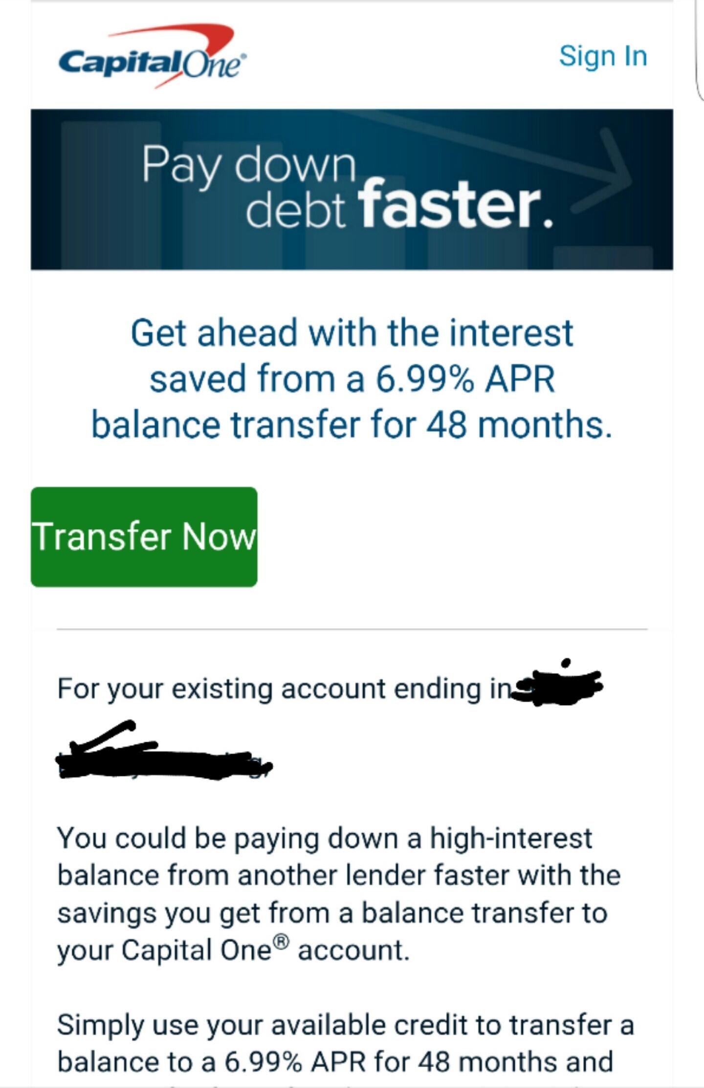 Capital One 6 99% apr for 48 Months Balance Transf    - myFICO