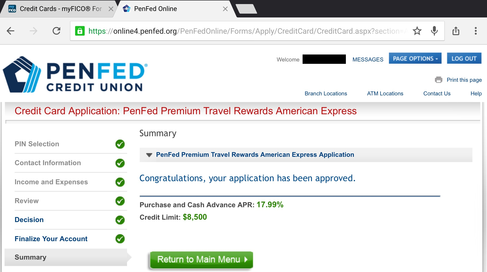 PenFed Amex Approved myFICO Forums