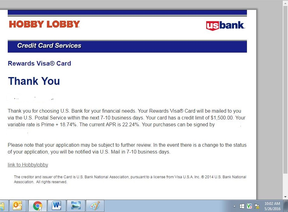 Ive a bit shocked my us bank in hobby lobby vi myfico of course its pending im sure some analyst that may just close it out for the moment i am happy its not displaying any info on my us bank landing page colourmoves
