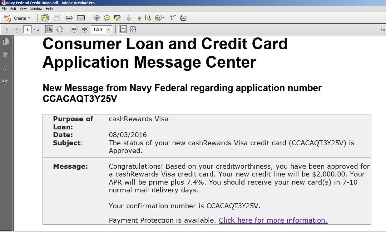 Navy federal credit union loan application status