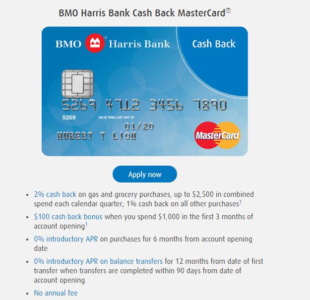 Approved: 10K BMO Harris Bank Cash Back MasterCard